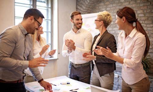Business people in workshop